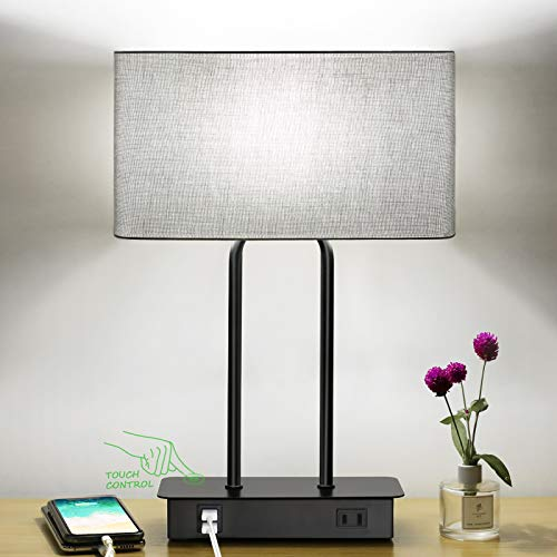 Bedside Touch Control Table Lamp with Dual USB Charging Ports 1 AC Outlet, 3 Way Dimmable Modern...