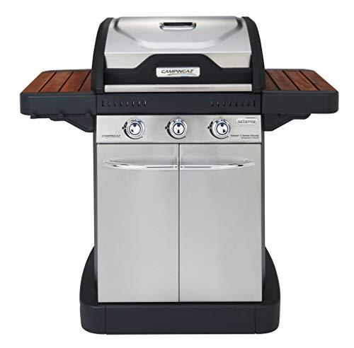 Campingaz 3 M Series Woody EX Gasgrill, BBQ Grillwagen, 3 Edelstahlbrenner, Warmhalterost, Seitentische aus Holz, gusseiserner Grillrost & Grillplatte, schwarz braun