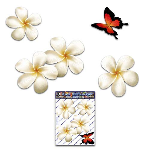 Fiore frangipani plumeria bianca doppio + farfalla adesivi auto autoadesivi - ST00024WT_SML - JAS Stickers