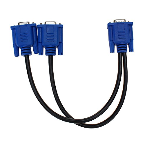 SAYTAY VGA Monitor Y-Splitter Cable,VGA 1 Male to Dual 2 VGA Female Adapter Converter Video Cable for Screen Duplication - 1 Foot(Blue)