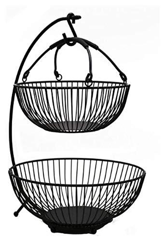 2 Nivel Snack Sirviendo Bandeja Caja Fruta Canasta Secado Fruta Caja Secada Fruta Placa Metal Malla Fruta Back Fruit Basket Holder Cocina Fruta Almacenamiento Soporte Banana Hanger Hook Organizador