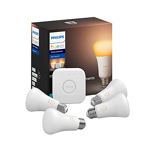Philips Hue Ambiance Smart Bulb Starter Kit (4 A19 Bulbs and 1 Hub Works with Alexa Apple HomeKit and Google Assistant), Soft White, Model:471986
