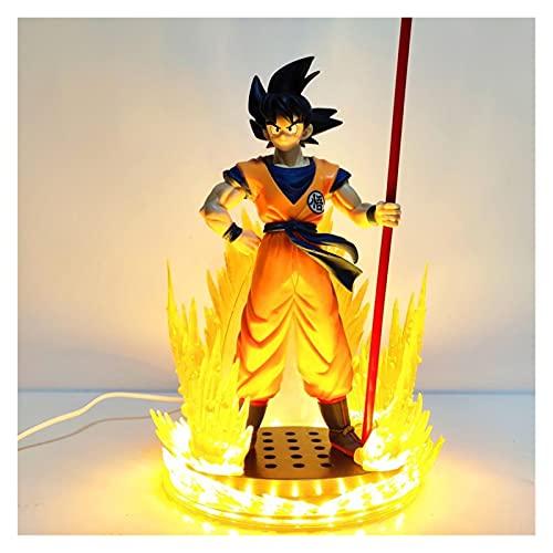 MOLUO Lámpara luz Nocturna niños Dragon Ball Z Anime Son Goku DIY PVC Figuras de acción Dragón Bola Super LED Modelo de Base Figurine DBZ 260mm