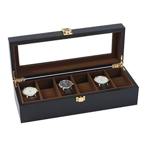 ZhenHe Uhrenschatulle für 6 Uhren aus Holz, matt, staubdicht, für Herren