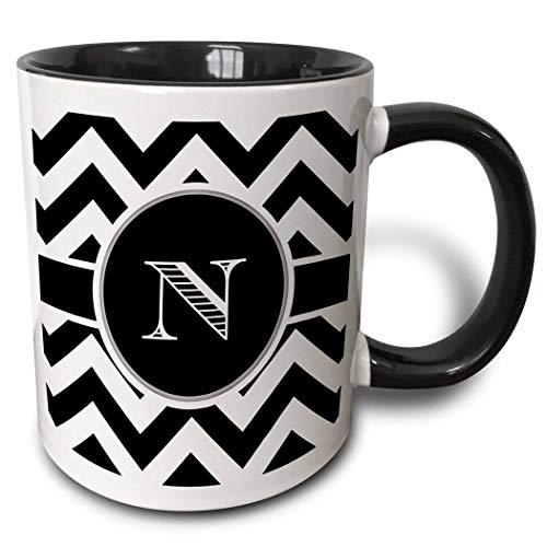 Novelty Ceramic Mug 11 oz Funny Coffee Mug Unique Gift Black And White Chevron Monogram Initial N Mug Coffee Cup wiht Colored Rim and Handle for Men Women