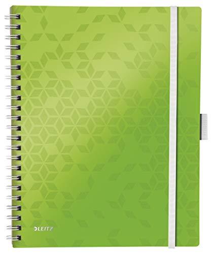 Leitz Cuaderno A4 con Tapas Rígidas, Verde, Encuadernación en Wiro, 80 hojas, Cuadriculado, Papel de Marfil de 80g/m², Gama WOW Be Mobile, 46450154