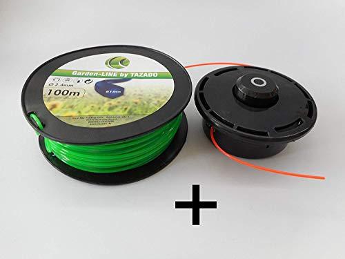Draadkop, maaikop + 100 m reservedraad 6-kant 2,4 mm maaidraad met hoog snijvermogen. Draadkop snel weer oplaadbaar.