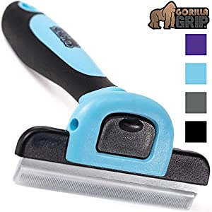 Gorilla Grip Premium Pet Grooming Brush, Deshedding Tool, Effectively Reduces Shedding, Non Slip Silicone Handle, Quick Release Comb, Safe Long or Short Pet Hair Removal, Gentle on Dogs, Cats, Blue