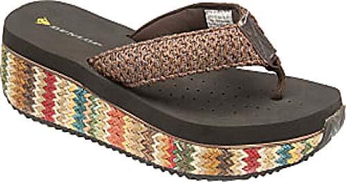 Dunlop Damen Zehentrenner mit niedrigem Keilabsatz, Bast für Strand und Sommer, Größe 36-42, Braun - Braun 590 - Größe: 40 EU
