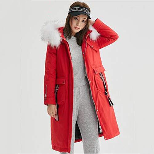 GUXIU Chaqueta de Plumas de Ganso de Invierno Cuello de Piel para Mujer Abrigo Largo para Mujer Parka Oversized Womens Down Jacket