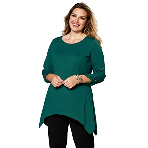 Camiseta Escote Redondeado y Manga Larga Regulable by Vencastyle,Verde Esmeralda Oscuro,L