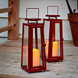 Red Outdoor Solar Lanterns - 11 Inch, Metal with Glass, Waterproof Flameless Pillar Candles, Dusk to Dawn Timer, Flickering LED Lights, Rustic Vintage Patio Decorations - Set of 2