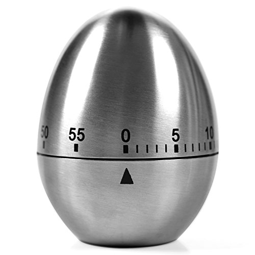 Kitchen Timer Manual, LEMEGO Stainless Steel Egg Shaped Mechanical Rotating Alarm with 60 Minutes for Cooking
