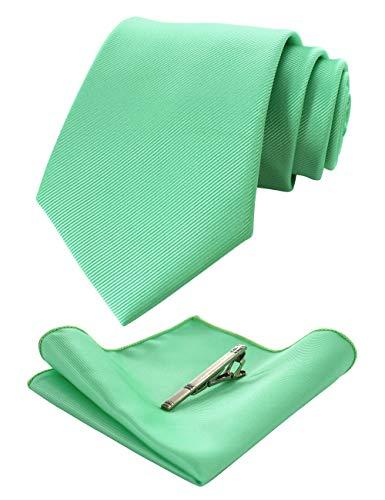 JEMYGINS Seide Krawatte MintGrün Dunkelgrün Krawatten und Einstecktuch mit krawattenklammer Set für Herren Seidenkrawatten Hochzeit Schlips (16)