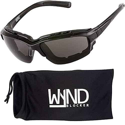 WYND Blocker Motorcycle Riding Glasses Extreme Sports Wrap Sunglasses, Black, Smoke