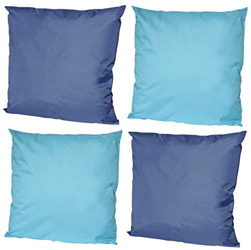 Coen Bakker 4X Outdoor Lounge Kissen 45x45cm viele Farben Dekokissen Wasserfest Sitzkissen Garten Stuhl, Farbe:2X Blau - 2X Hellblau