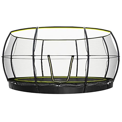 Rebo Flush FIt Inground Base Jump Trampoline with Halo ll Enclosure - 14 FT