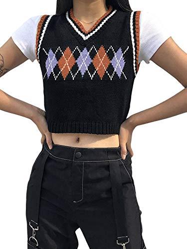 Women Sweater Vest Streetwear Preppy Style Knitwear Tank Top V Neck Argyle Plaid Knitted Crop Top (Brown, S)