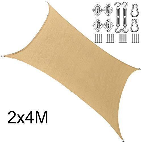 BCLGCF Rectangle Sun Shade Sail Canopy, 185 GSM Thicker Outdoor Shade Block 95% UV Keep Cool, UV Block Canopy for Patio Backyard Lawn Garden Outdoor Activities,2x4M