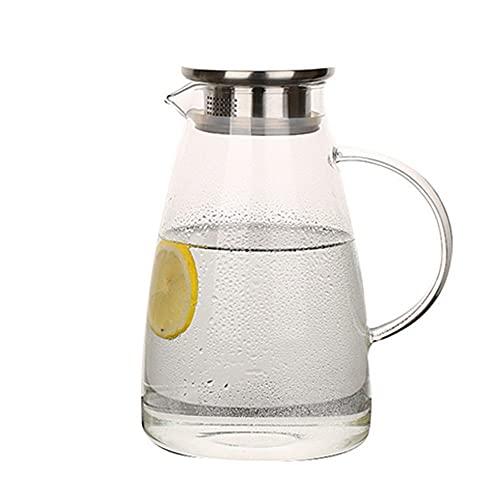 YLiansong-home Jarra de Agua Hot Frio Helado Botella de Agua Vino Leche Jugo Kettle Bebida Jarra de té Jarra de Vidrio Jarra de Agua Jarra de Jugo (Color : Clear, Size : 2L)