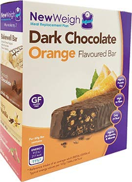 NewWeigh Dark Chocolate Orange Meal Replacement Snack Bar, 7 x 60g - Gluten Free and Suitable for Coeliacs & Vegetarians - High Fibre & High Protein