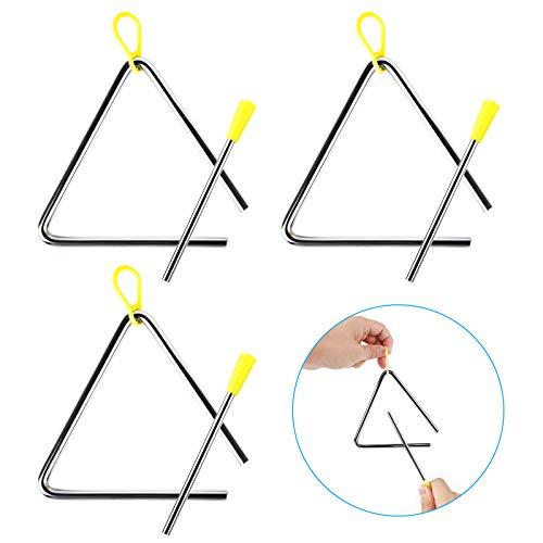 Huayue 3 Triangel Instrumenten Set Kinder Triangel mit Schlägel Musikinstrument für Rhythmus Percussion Stahl Schlaginstrument mit Klöppel Musikalische früherziehung Instrumente für Anfänger