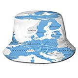 PUIO Sombrero de Pesca,Los países de la Unión Europea en inglés etiquetado Mapa político con fronteras,Senderismo para Hombres y Mujeres al Aire Libre Sombrero de Cubo Sombrero para el Sol