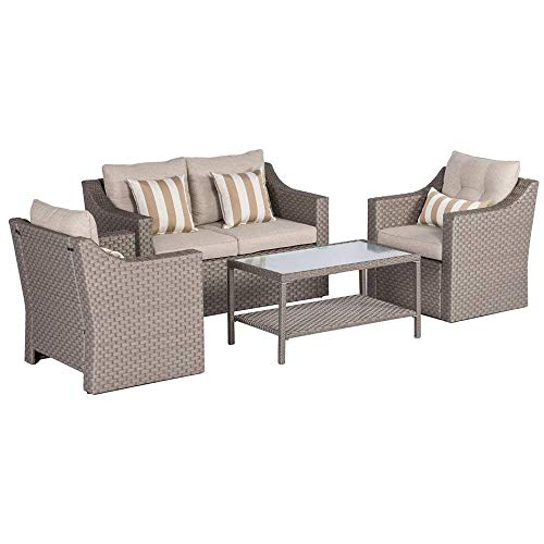 SOLAURA Outdoor Patio Furniture Set 5-Piece Conversation Set Gray Wicker Furniture Sofa Set with Neutral Beige Olefin Fiber Cushions & Sophisticated Glass Coffee Table