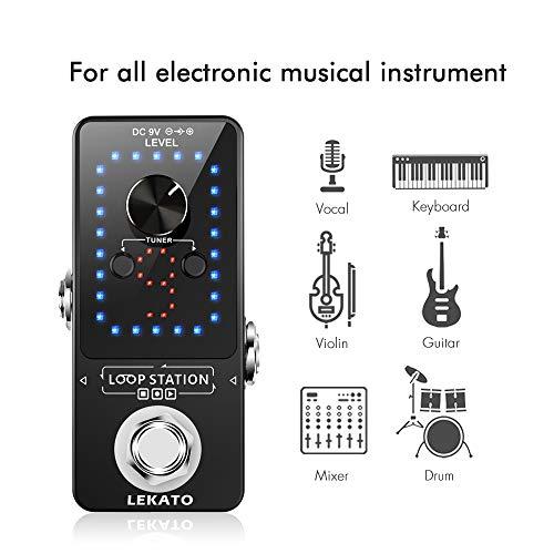 LEKATO - Pedal de efectos de guitarra, estación de bucle de 10 minutos, 9 bucles, 40 minutos de tiempo de grabación con función de sintonizador, cable USB para verdadero bypass