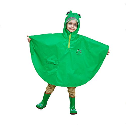 MX kingdom Boys Girls Rain Poncho Hooded Kids Waterproof Raincoat with Adjustable Waist All in One Puddle SuitsLightweight PVC Transparent Hat Brim for Kids 3-10 Years