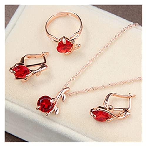 ZCPCS Elegante Color Oro Austriaco Joyería de Cristal Juego Colgantes Collares Pendientes Anillo Rhinestone Bridal Jewelry Conjuntos para Mujeres (Metal Color : F446)