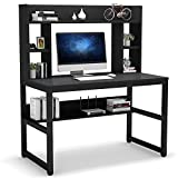 Computer Desk with Hutch, 47 Inch Modern Writing Desk with Storage Shelves, Office Desk Study Table Gaming Desk Workstation for Home Office, Black