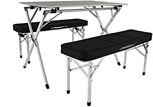 Aluminum Portable Folding Roll Table & Bench Set (Black) - Camping Table | Outdoor Table | Table Chair Set | Foldable Table | Tailgating | rv | Camping Gear | Kitchen Table