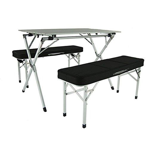 Juego de mesa y banco plegable de aluminio portátil (negro) – mesa de camping | mesa para exteriores | mesa mesa plegable | portón trasero | equipo de camping | mesa de cocina
