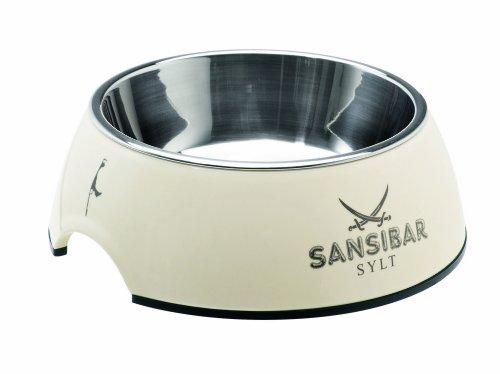 HUNTER SANSIBAR Melamin-Napf, Futternapf, Trinknapf, für Hunde und Katzen, mit Edelstahlnapf, 350 ml, weiß