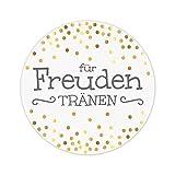 KuschelICH 100 Sticker für Freudentränen - wunderschöne Hochzeit Aufkleber - 5 cm Premium-Strukturpapier - golden glänzende Punkte (100 STK., Freudentränen)