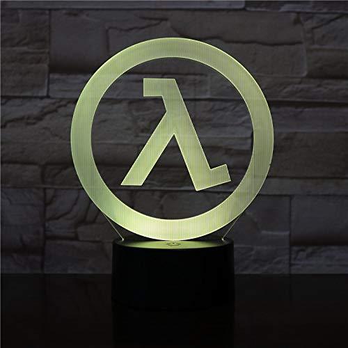 Lampara LED Videojuego Half Life Logo Cambia Color USB Luz nocturna y decoración