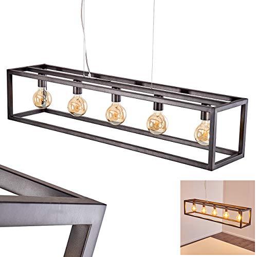 Pendelarmatuur Geestdorp, langwerpige pendellamp van metaal in zilver, 5 vlammen, 5 x E27 max. 60 Watt, kooi, roosteroptiek, moderne pendellamp met zwevend effect, geschikt voor LED-lampen