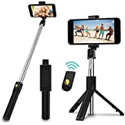 SYOSIN Selfie Stick, Extendable Bluetooth Selfie Stick Tripod with Detachable Wireless Remote and Tripod Stand for Travel, Compatible with iPhone/Samsung/Huawei and More