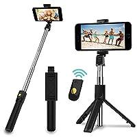 3-in-1 Design -- SYOSIN Selfiestick mit abnehmbaren Auslöser. Sie können den Stick entweder als regulären Selfie Stick verwenden, oder den Bluetooth Auslöser abnehmen und als Dreibeinstativ mit Fernauslöser verwenden. Entweder ein Kamera-Einbeinstati...