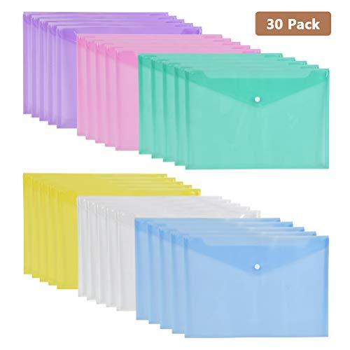 YOTINO 30er Dokumententasche a4 wasserdicht, Transparent Dokumentenmappe Kunststoff, Dokumententaschen mit Druckknopf, Projekt-Umschläge in 6 Farben, Sichttaschen, Sammelmappe