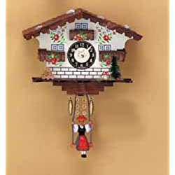 Pinnacle Peak Trading Company Swinging Girl Doll Quartz Movement Wood White House German Clock Made in Germany