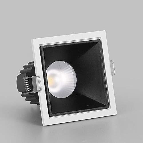 HSCW Foco empotrado LED, 5W / 7W / 12W Downlight Spotlights anti-deslumbramiento Downlights Negro/blanco Cuadrado de aluminio Iluminación de techo Fixture para sala de estar LOFT AISLE HALLWAY
