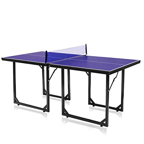 Best Review Of LDAILY Foldable Ping Pong Table, Portable Table Tennis Table, Midsize Compact Table T...