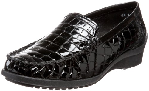 ara Women's Phoebe Loafer,Black Croco Patent,5 M US