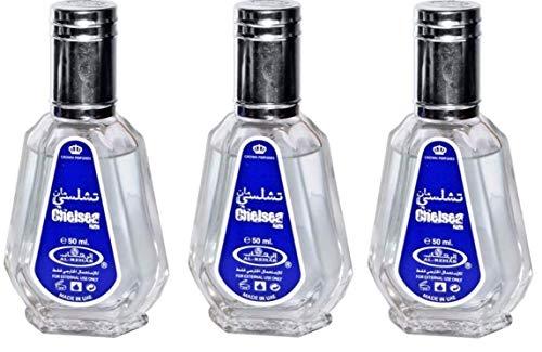Set de 3 Almizcle Musk CHELSEA MAN Al Rehab 50ml Perfumes de Mujer Perfumes Hombre Attar Perfume Alcohol Desnaturalizado, NOTAS: Balsámica, Oud, Aromática, Almizclada