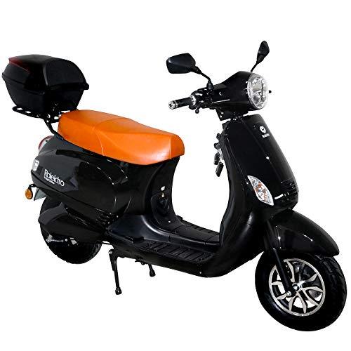Rolektro E-City 45 Retro - Patinete eléctrico (1500 W, 45 km/h, para 2 Personas, Alcance de 60 km), Color Negro