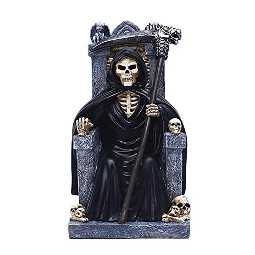 Decoración de estatua de Halloween Reaper, resina pintada a mano Decoración de Halloween Reaper, Thriller Mood Maker en Halloween, apariencia realista y de suspenso, para fiesta de terror en casa Yoye