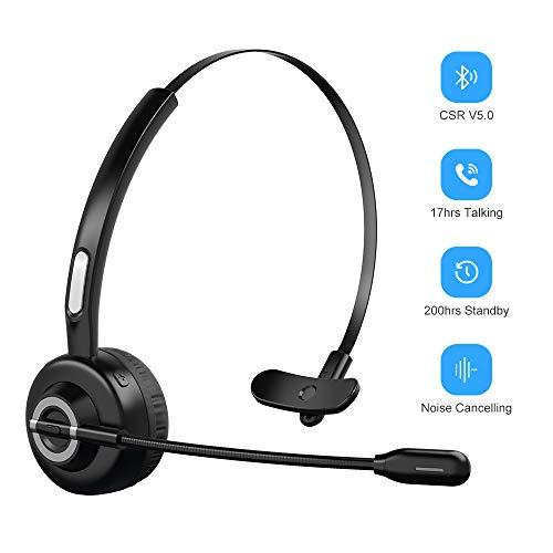 ZeaLife Bluetooth Headset mit Mikrofon, Kabelloses PC Headset für Laptop Funk-Headset mit Rauschunterdrückung, Freisprechen Chat Bluetooth Headset für Home Office Skype Handys Callcenter Trucker
