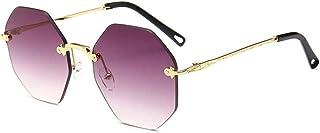 Rimless Sunglasses,Hamkaw [2019 Newest] Gradient Color Retro Sunglasses with Metal Frame Personalized Lightweight Flat Lenses Unisex Frameless Eyewear for Women Ladies Girls Men Boys